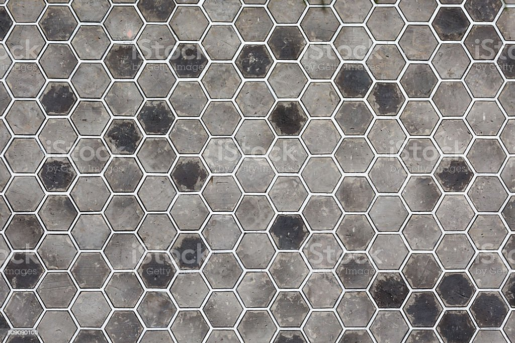 Hexagon brick wall background stock photo