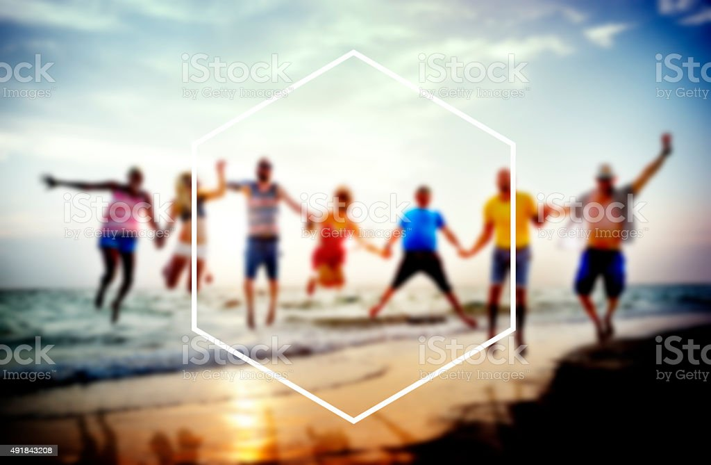 Hexagon Frame Holiday Summer Vacation Copy Space Concept stock photo