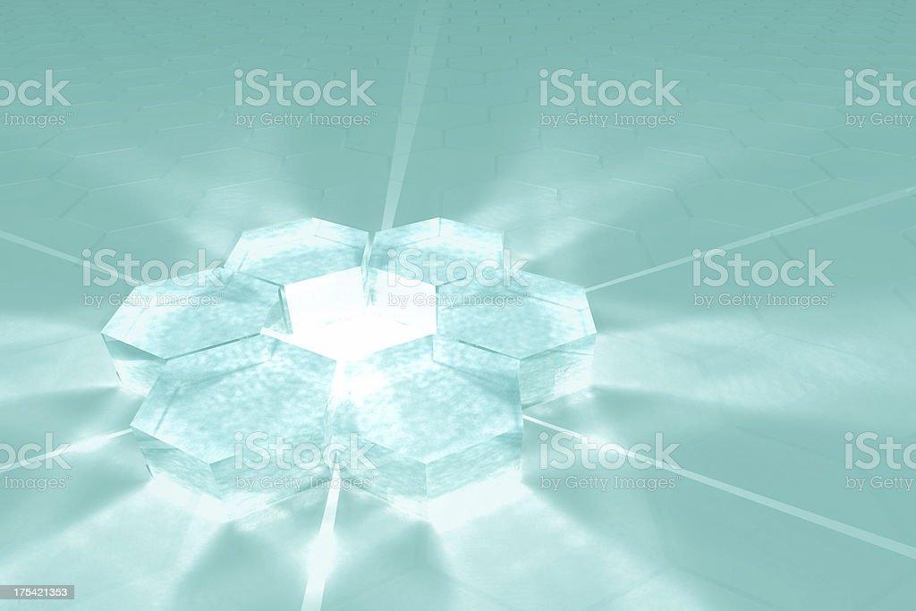Hexagon glass plane stock photo