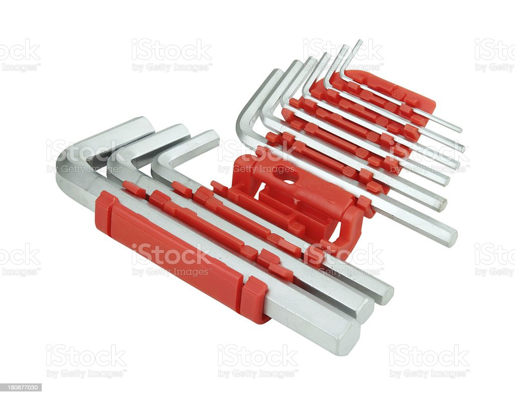 hexagon kit tool or allen wrench set royalty-free stock photo