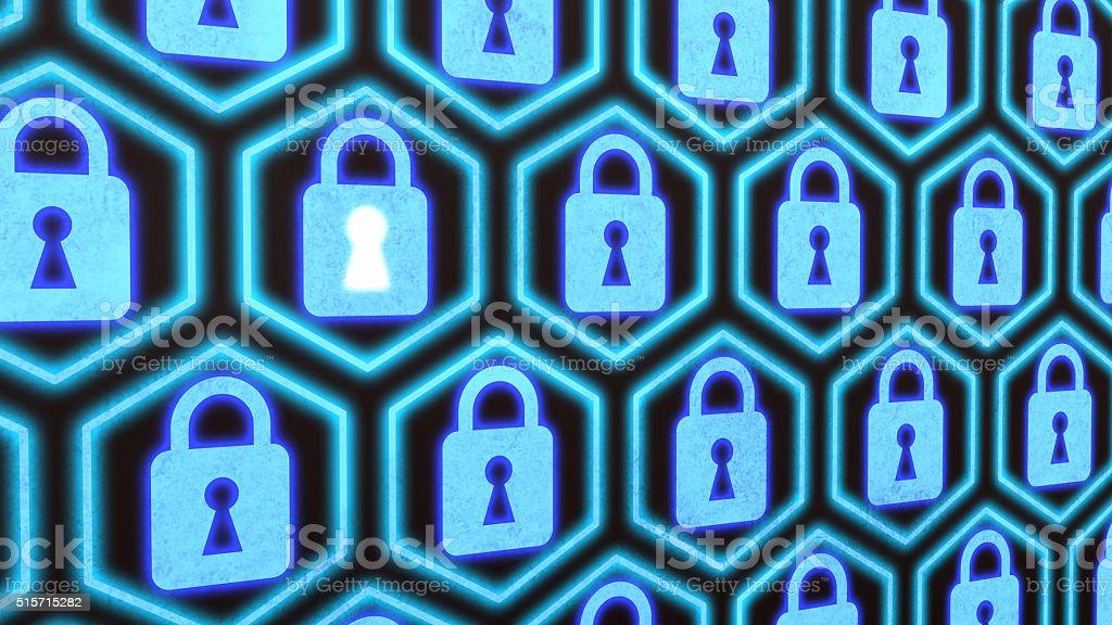 Hexagon locks security concept stock photo