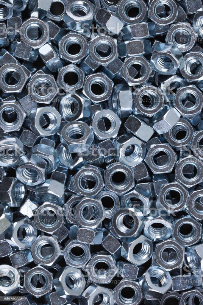 Hexagon metal nuts. stock photo
