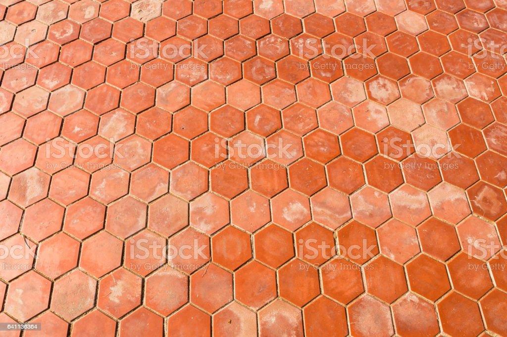 hexagonal clay tiles texture background stock photo