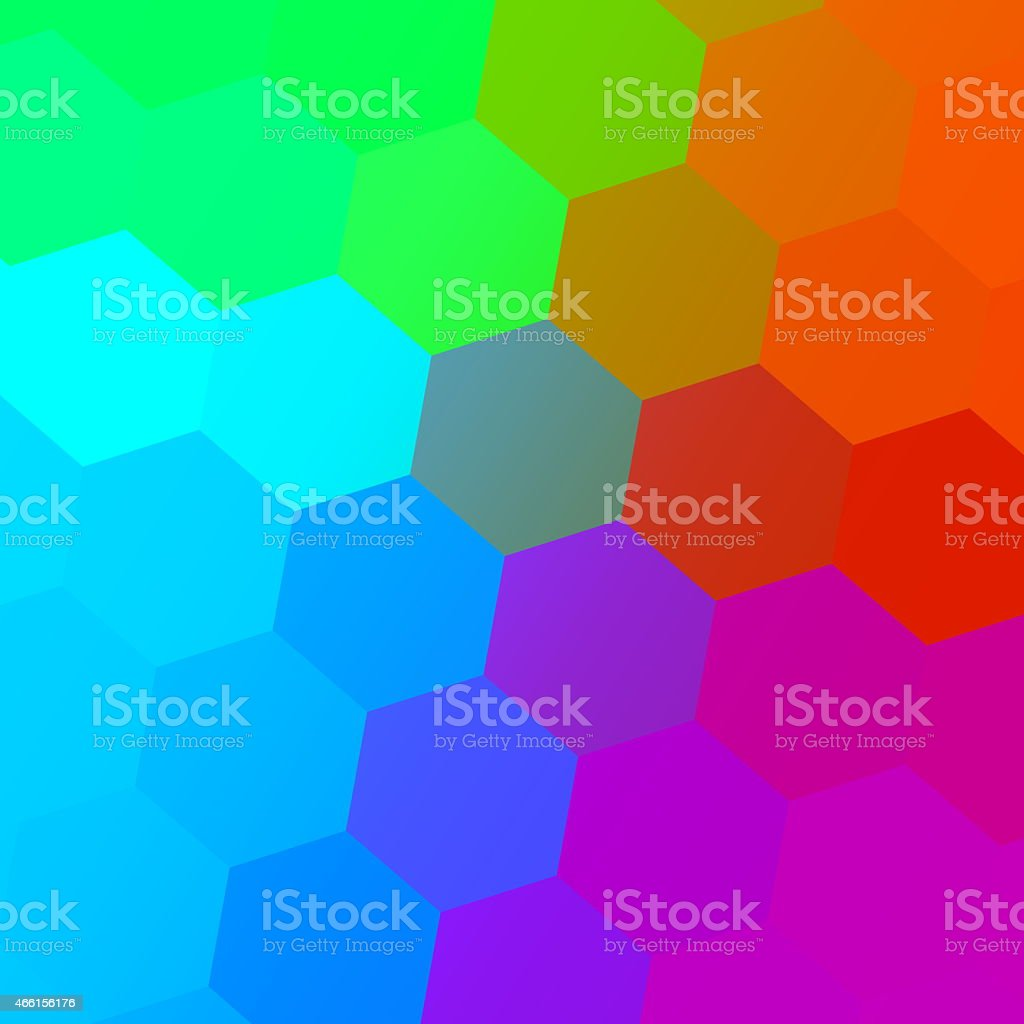 Hexagonal Color Spectrum. Colorful Abstract Background. Simple Geometric Art. Pattern. stock photo