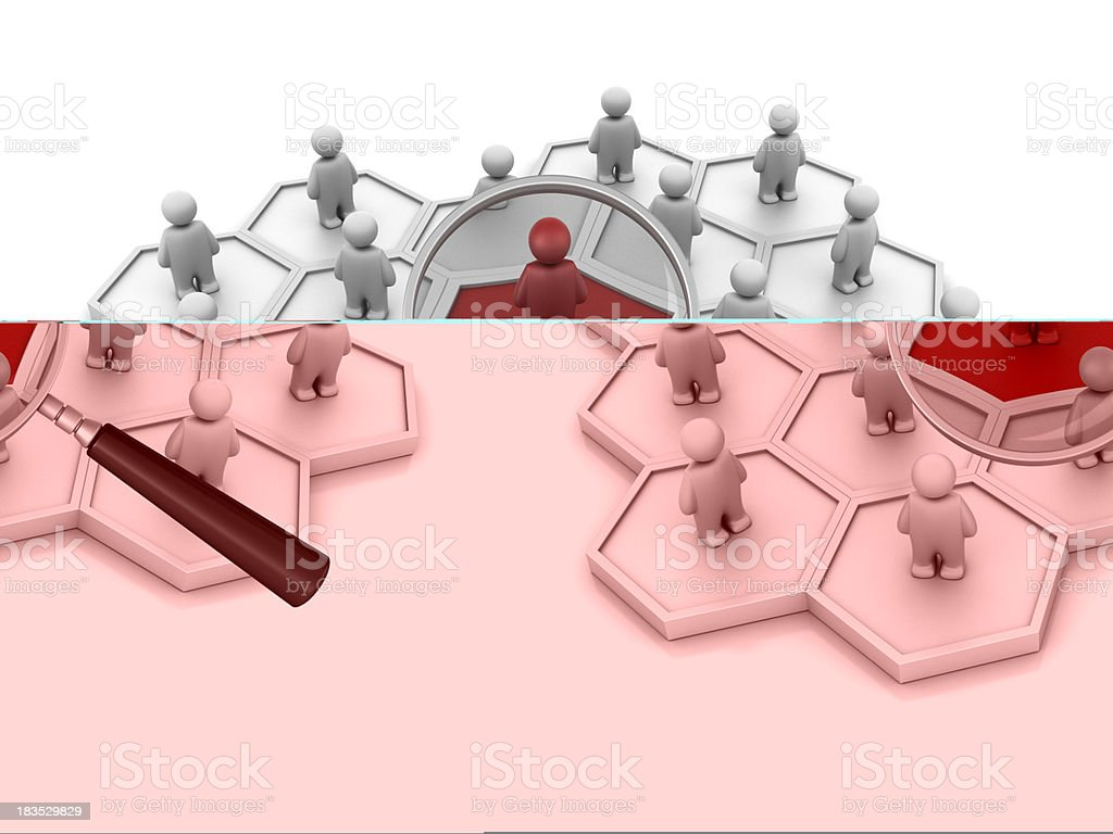 Hexagonal Diagram with People and Magnifying Glass royalty-free stock photo