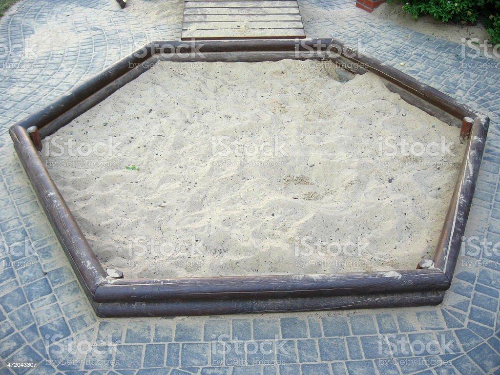 Hexagonal sandbox stock photo