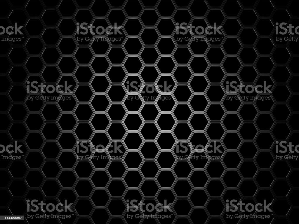 Hexagonal texture graphic similar to beeswax, gray on black royalty-free stock photo