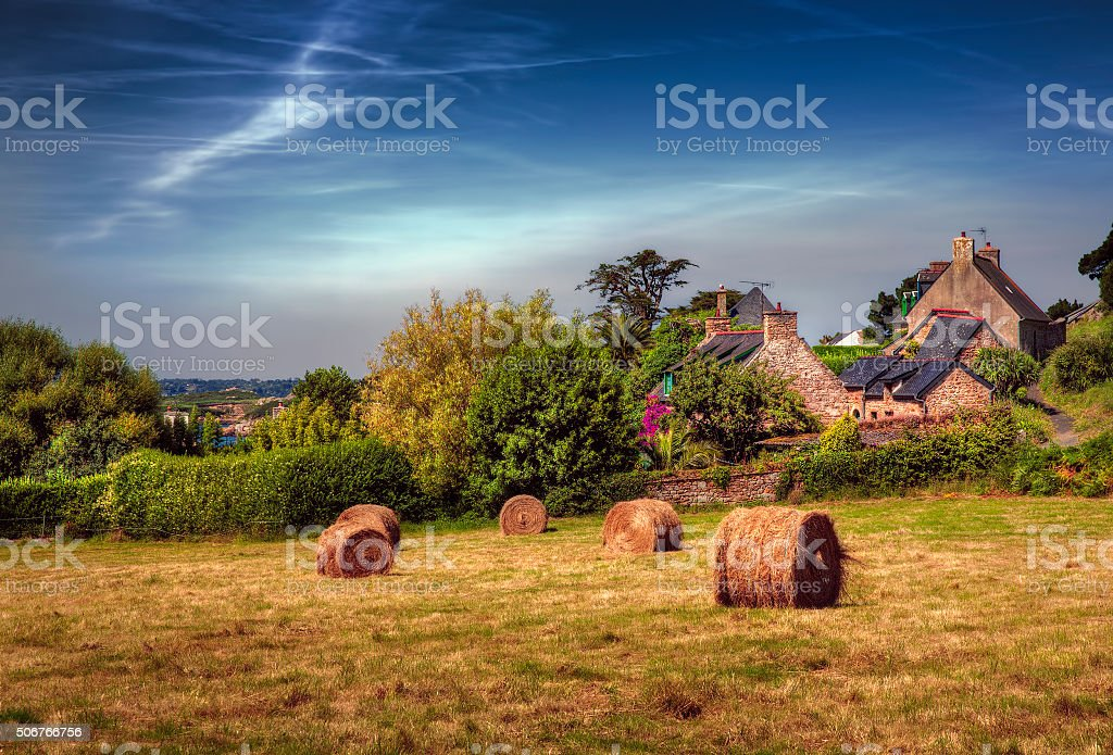 Hey Bales on the Island of Brehat, Brittany stock photo