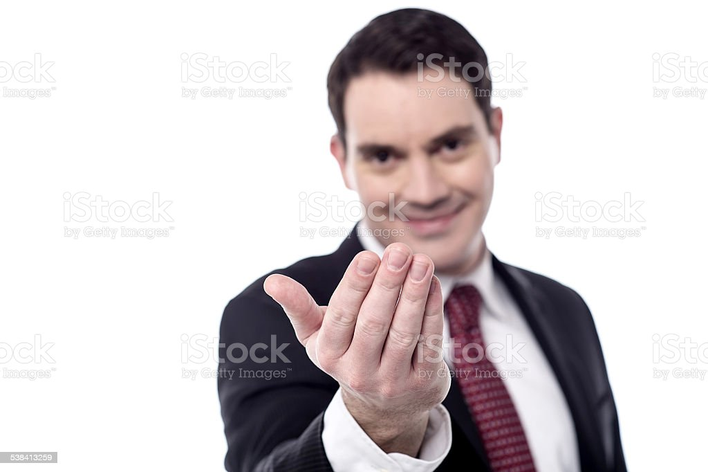 Hey you, come over here. stock photo