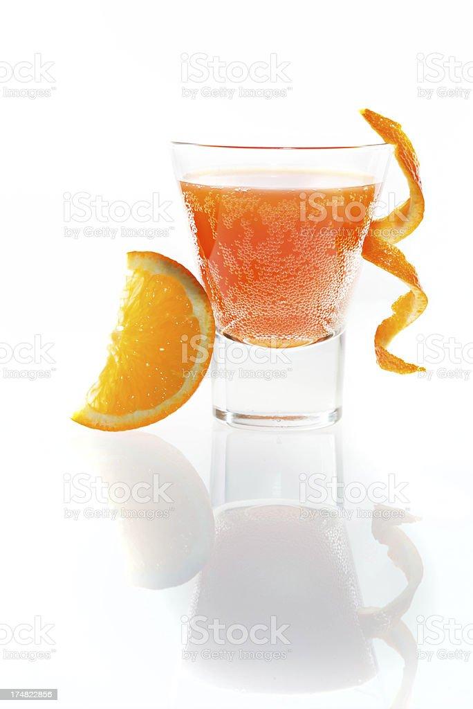 Hi key orange cocktail on white background royalty-free stock photo