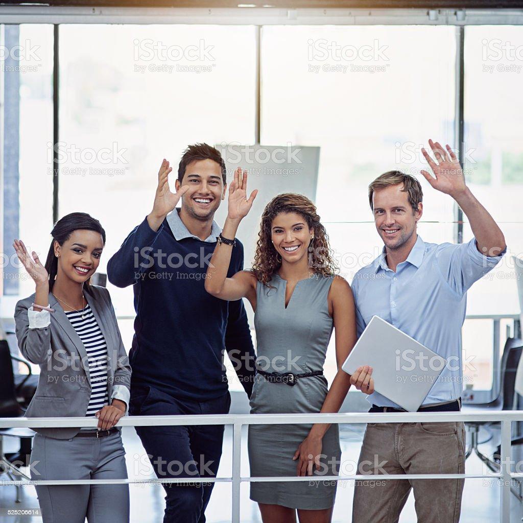Hi Success! We're here! stock photo