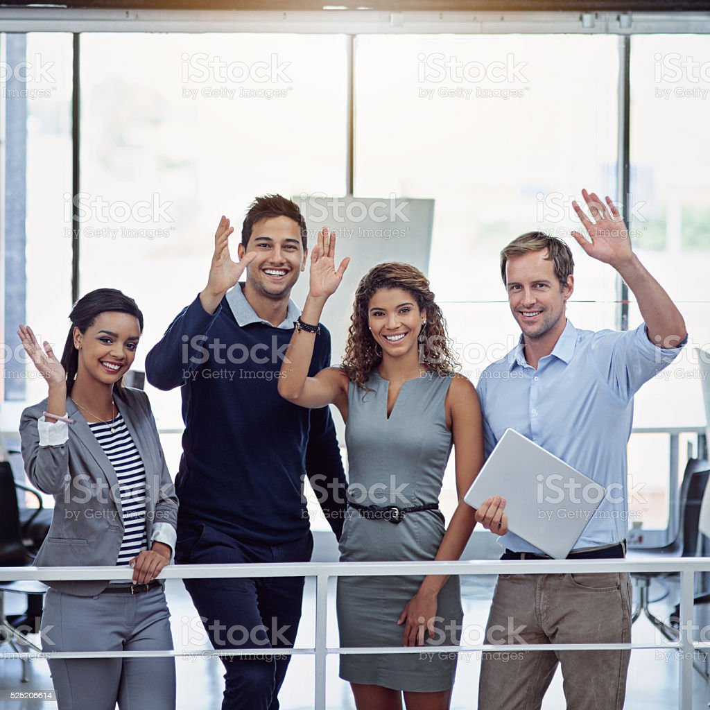 Hi Success! We're here! stock photo