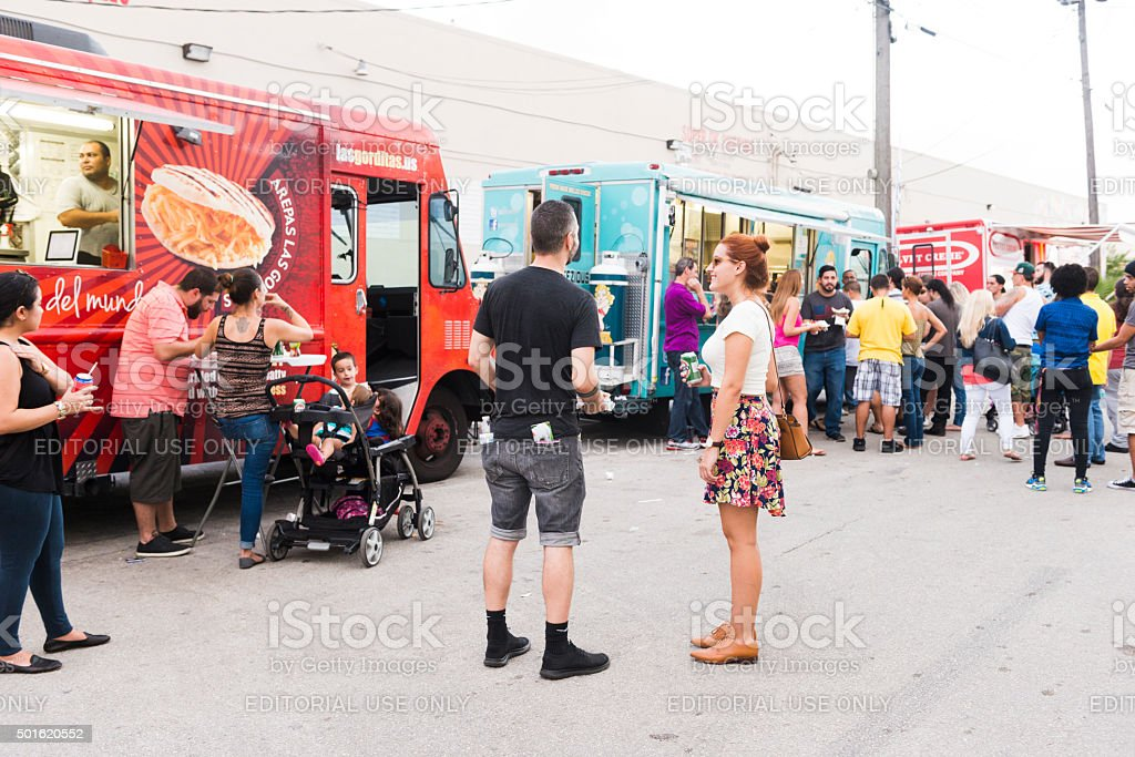 Hialeah People Out at Local Festival with Food Trucks stock photo