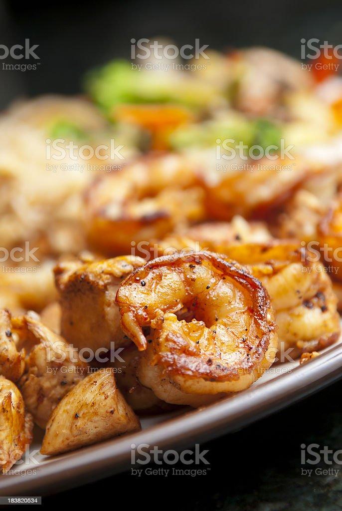 Hibachi Shrimp and Chicken stock photo