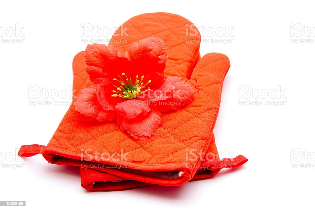 Hibiscus blossom with pot glove stock photo