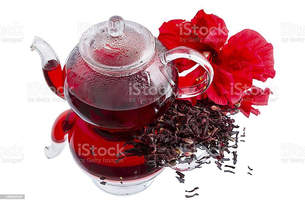 Hibiscus tea on white royalty-free stock photo