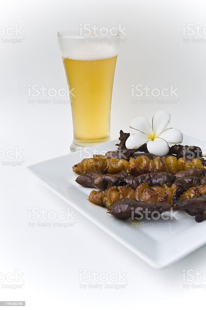 ?hickens barbecue with beer royalty-free stock photo