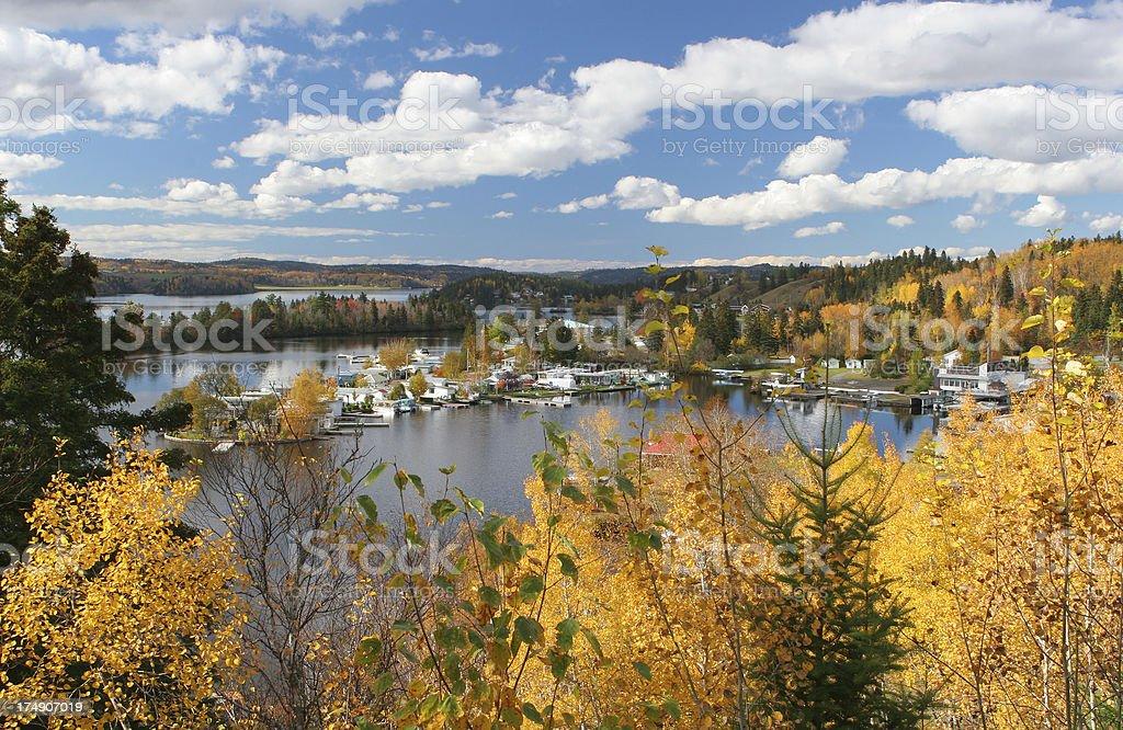 Hidden Camping site in Autumn stock photo