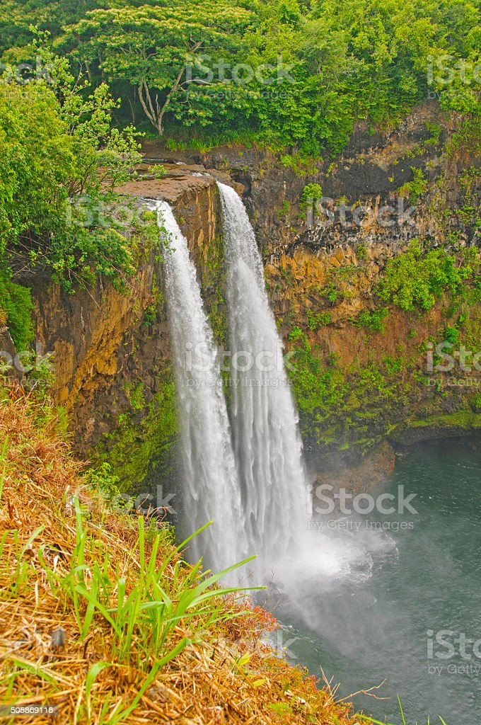 Hidden Falls on a Tropical Island stock photo