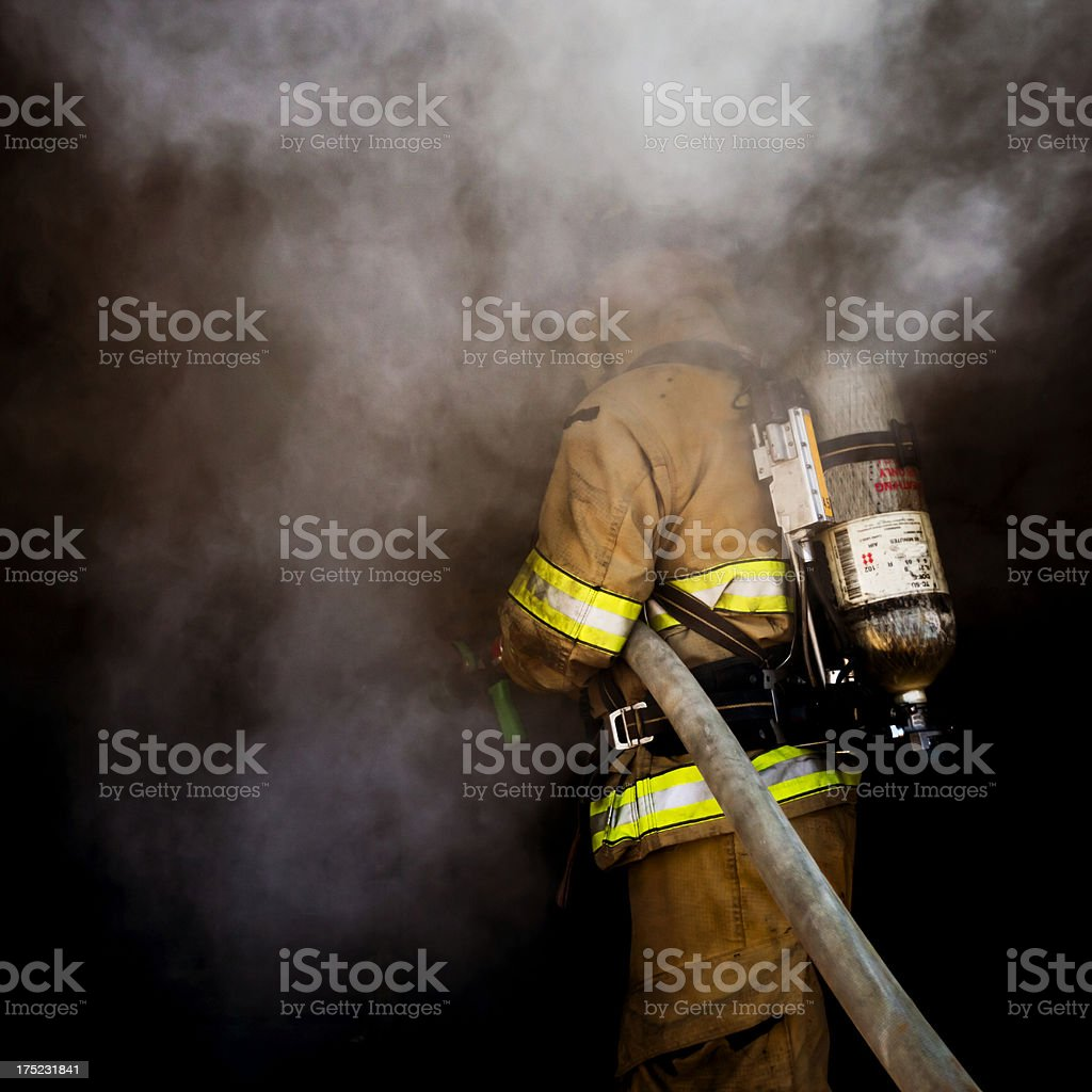 Hidden Firefighter stock photo