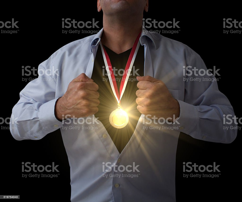 Hidden Gold Medal Hero stock photo