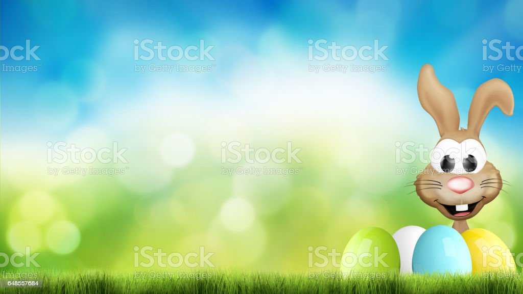 hidden happsy easter bunny and easter eggs 3d render stock photo