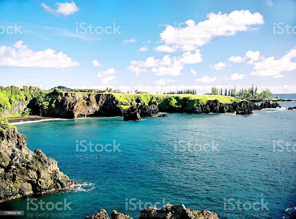Hidden Hawaii beach and coastline stock photo