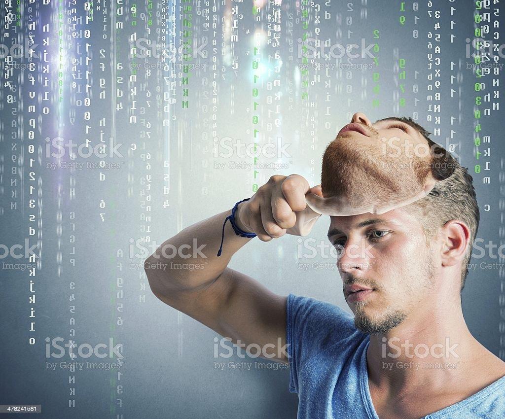 Hidden identity of a hacker stock photo