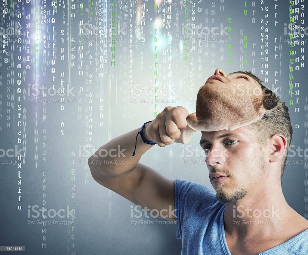 Hidden identity of a hacker stock photo