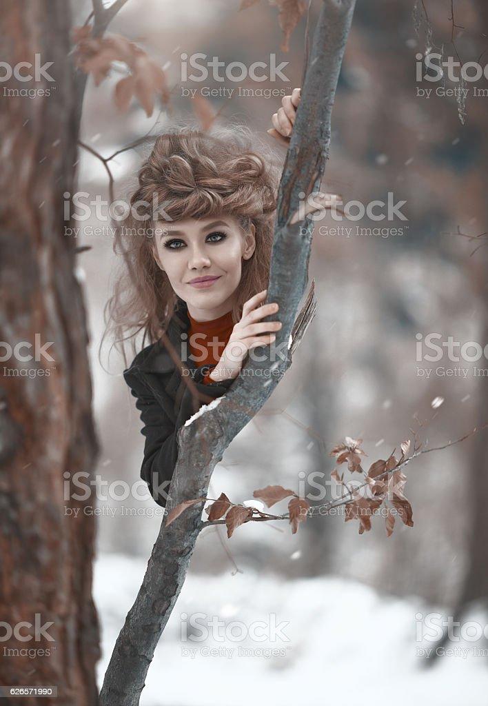 hidden in the woods stock photo