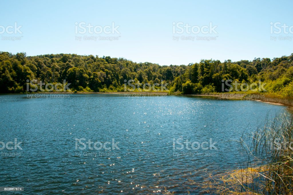 Hidden Lake in Nahuel Huapi - Bariloche - Argentina stock photo