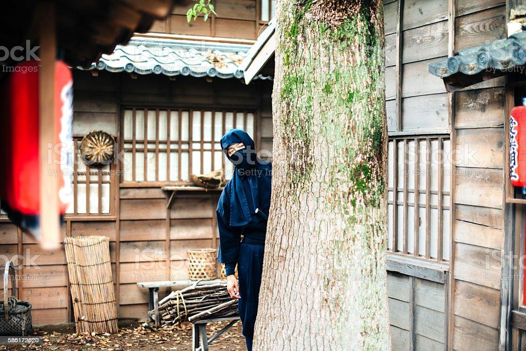 Hidden ninja revenger in Japanese village stock photo
