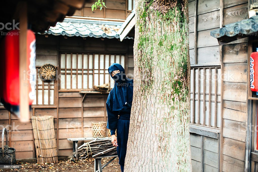 Hidden ninja revenger in Japanese village stock photo