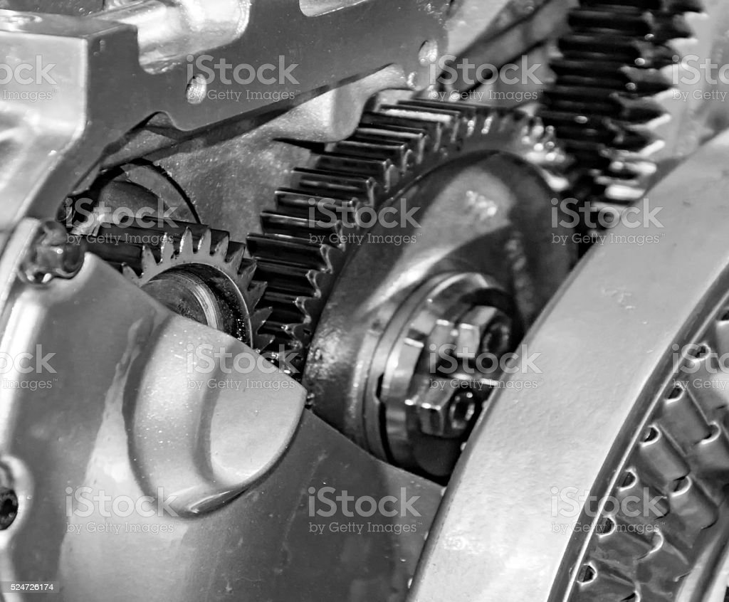 Hidden parts of car engine stock photo
