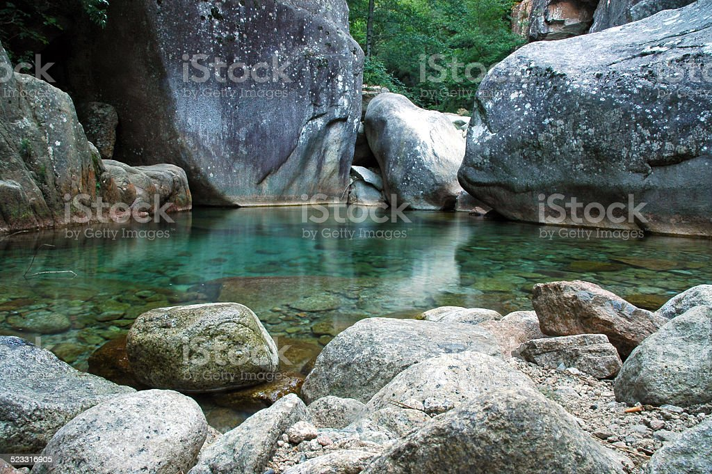 Hidden river, Purcaraccia canyon in Corsica, France stock photo
