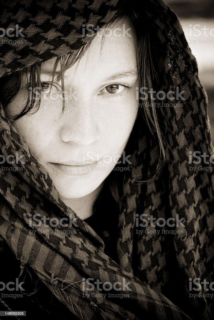 Hidden woman on veil royalty-free stock photo