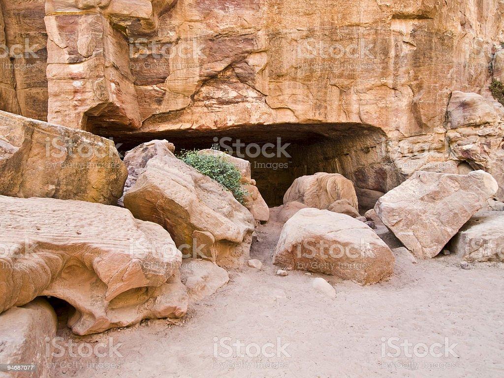 Hiden tomb in Petra Jordan royalty-free stock photo