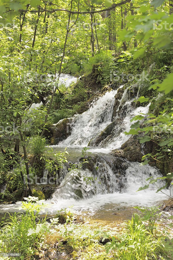 hiden waterfall brown rocks and green leaves Plitvice Lakes Croatia royalty-free stock photo