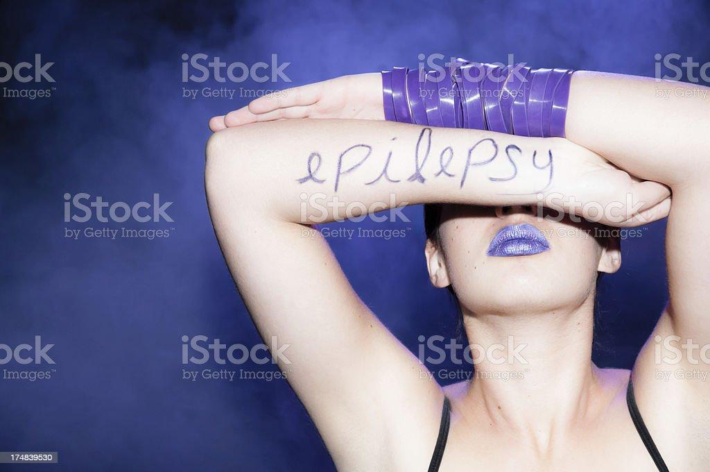 Hiding behind epilepsy royalty-free stock photo