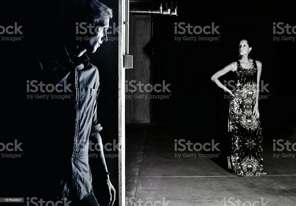 hiding behind the corner royalty-free stock photo