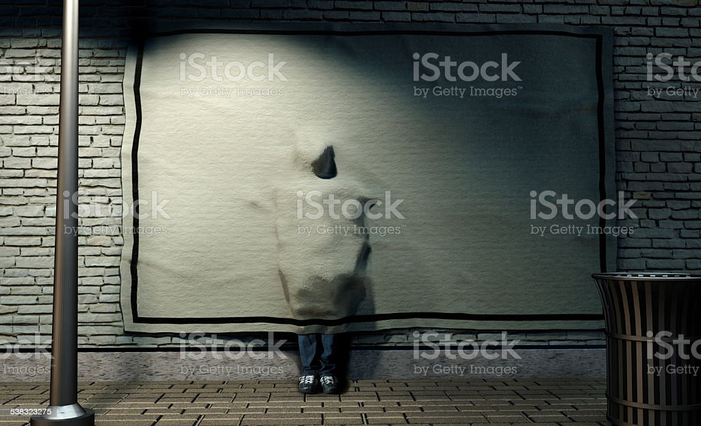 Hiding Behind the Poster stock photo