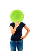 hiding face behind a plate