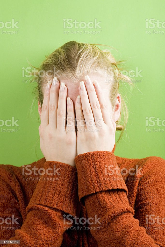 Hiding face royalty-free stock photo