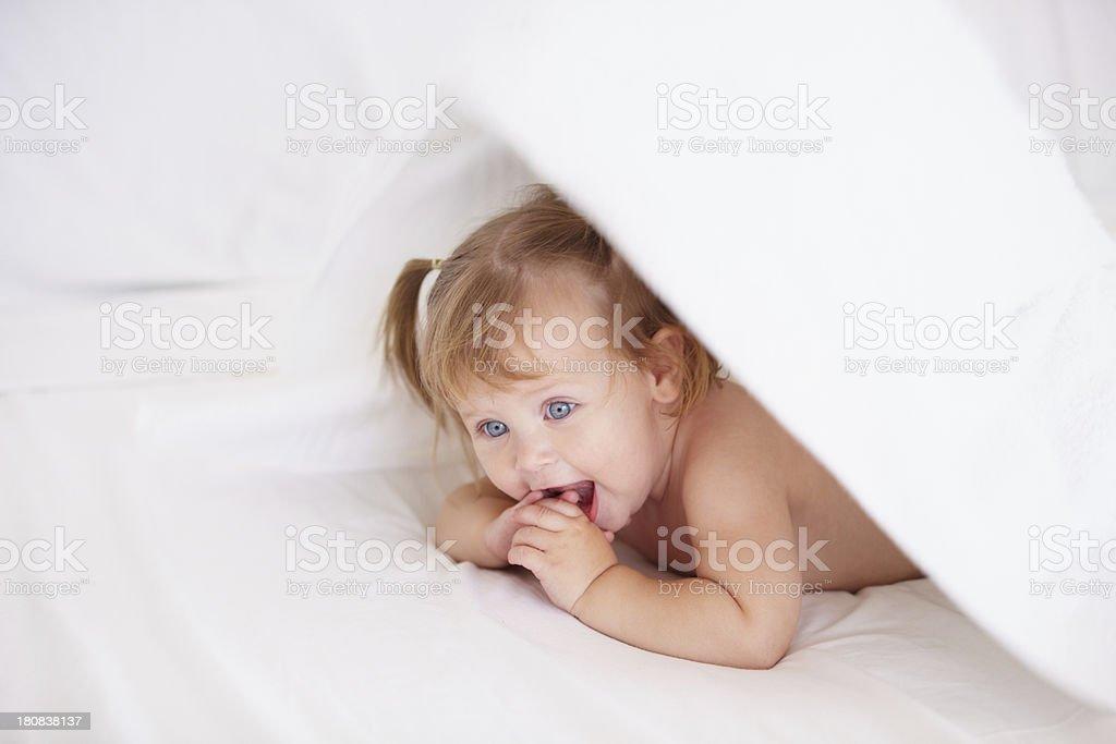 Hiding from mom royalty-free stock photo