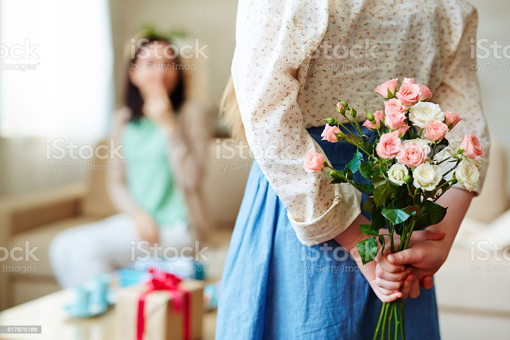 Hiding roses stock photo