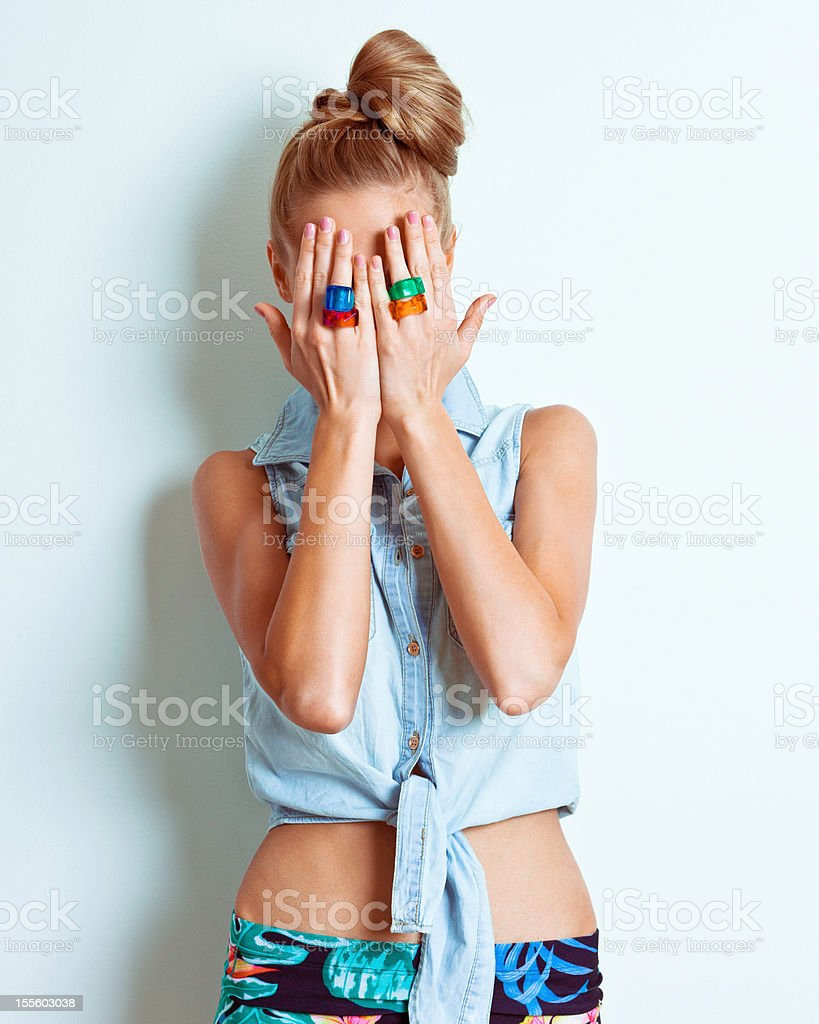 Hiding woman royalty-free stock photo