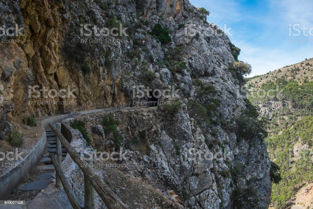 Hidroelectrica hiking path in the Sierra Nevada mointains stock photo