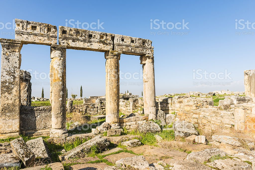 Hierapolis standing pillars and ruins of an ancient city royalty-free stock photo