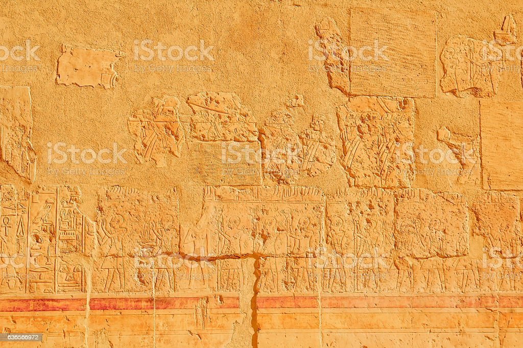 Hieroglyphic carvings on the exterior walls stock photo