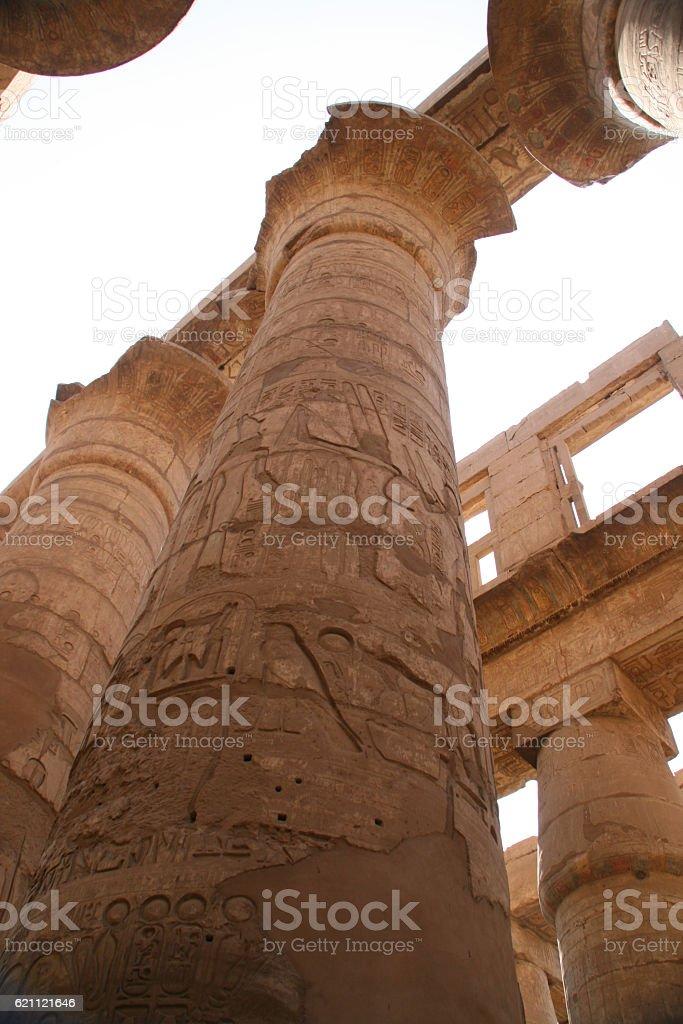 Hieroglyphic covered columns stock photo
